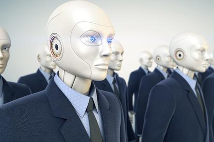 Robot workers photo via shutterstock