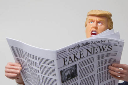 Donald trump reading fake news