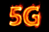 Burning 5G against dark background