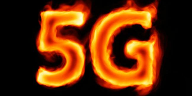 Burning 5G against dark background