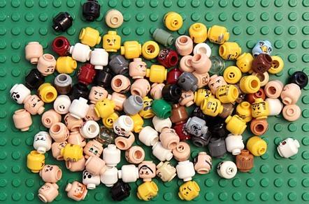 Lego heads photo via Shutterstock