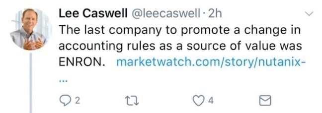 VMware's Lee Caswell tweets about Nutanix and Enron