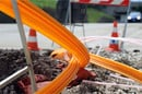 Roadworks: fibre optic cable being laid