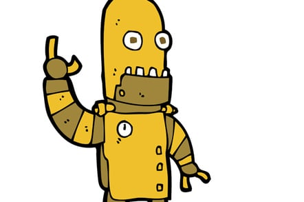 Gold robot photo via Shutterstock