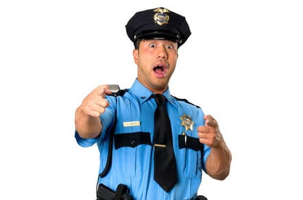 shocked looking policeman