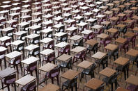 Exam hall full of desks