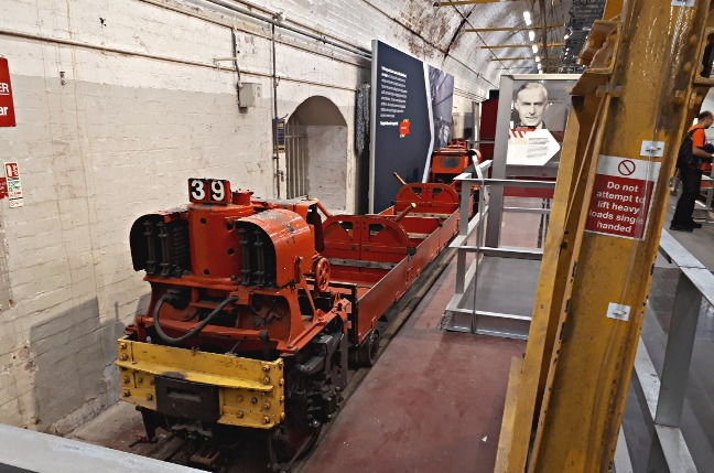 A Mail Rail wagon inside the exhibition
