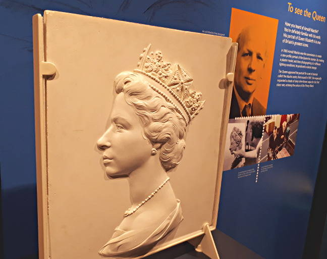HM The Queen's head, cast in plaster, at the Postal Museum