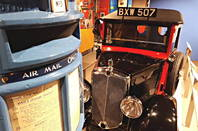 Royal Mail van and postbox at the Postal Museum, Clerkenwell