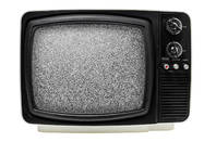 Black and white television with white noise