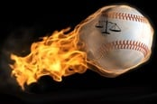 FLAMING BASEBALL WITH JUSTICE SCALES LOGO