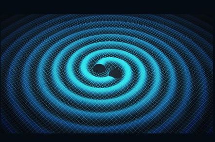 Black holes come together to produce gravitational waves in a visualisation