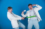 Men in suits fighting