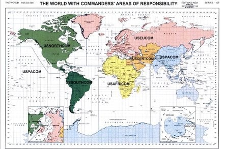 Map of the USA's Unified Combatant Commands