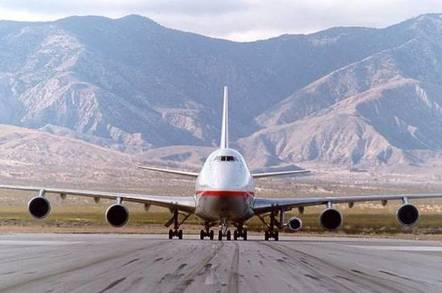 GE's 747 testbed March 10, 1999, testing an engine for the Canadair CRJ-700/-900. Credit: GE Aviation