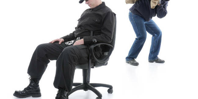 A security guard asleep