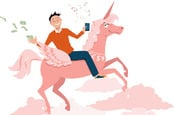 Chap riding unicorn while using a smartphone and throwing away money