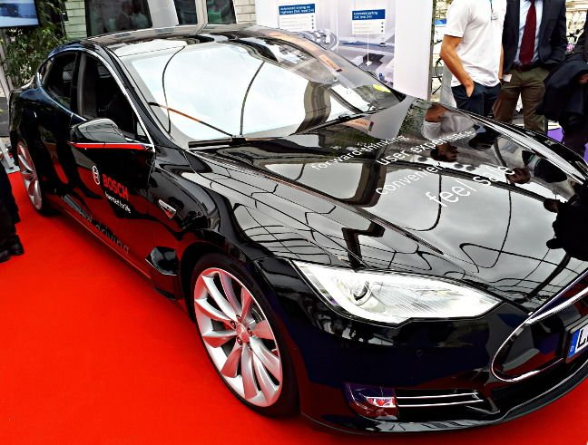 Bosch's converted Tesla testbed. Note the LIDAR sensor just behind the front wheel
