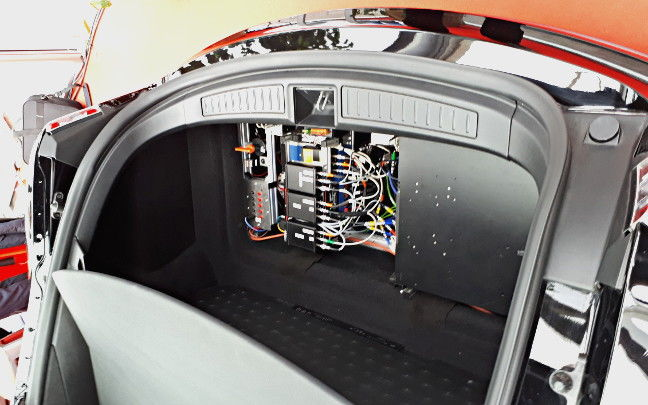 The sensor fusion gear in the boot of Bosch's Tesla testbed car