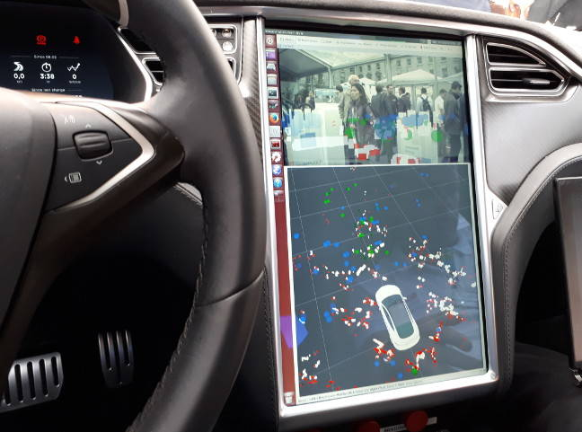 The dashboard display of Bosch's testbed Tesla, showing LIDAR sensor mapping data