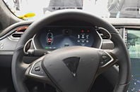 The steering wheel of Bosch's Tesla testbed