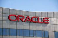 Oracle logo on building in Amsterdam