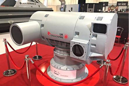 The Dragonfire laser turret mockup at DSEI 2017. Pic: MBDA