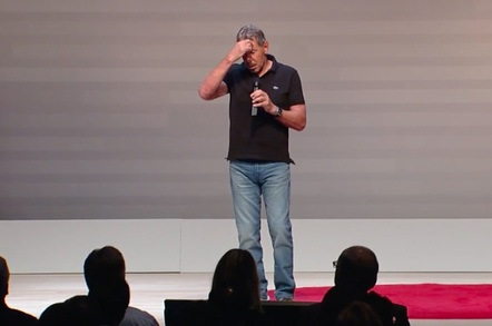 Larry Ellison on stage at Oracle's cloud pricing announcement