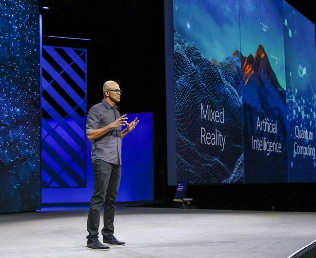 Microsoft CEO Satya Nadella on stage at Ignite