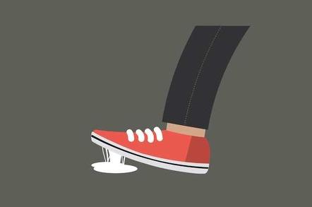 Foot stuck in chewing gum