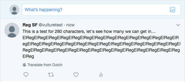 Twitter 280 character test screenshot