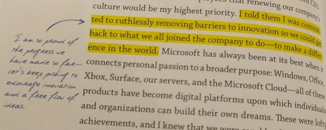 A highlighted and annotated passage in the Employee's edition of Satya Nadella's Hit Refresh