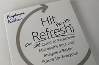 The cover of the employee edition of Satya Nadella's Hit Refresh