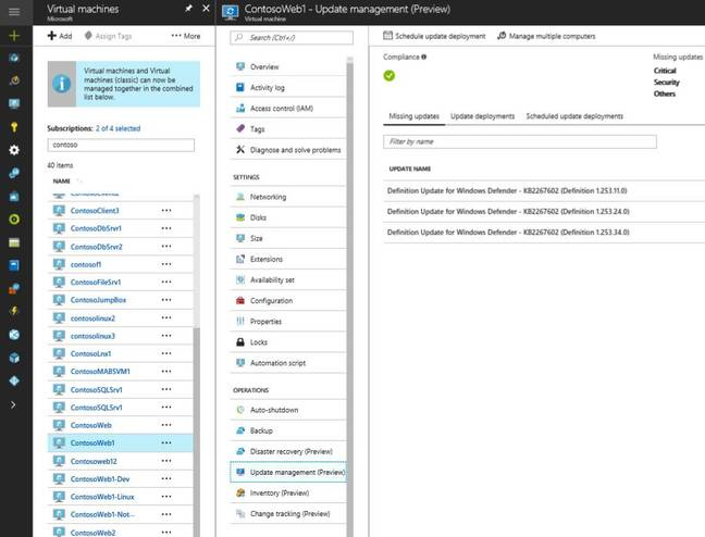 Operations in the Azure Portal include managing updates, examining installed applications, and tracking changes