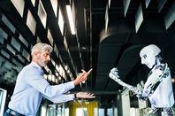 Man and robot...