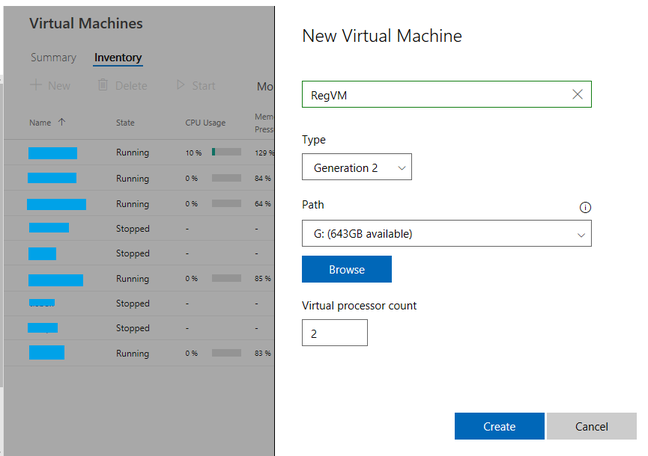 Creating a virtual machine via the browser
