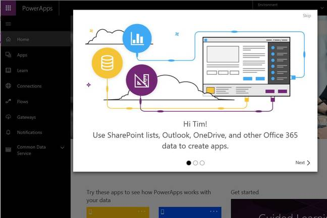PowerApps, Microsoft's current offering for quick cloud-based applications