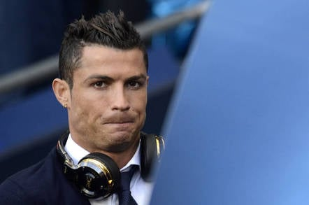 MANCHESTER, UK - Cristiano Ronaldo reacts prior to the UEFA Champions League semi-final game between Manchester City and Real Madrid