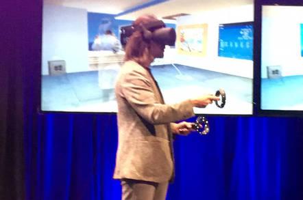 Alex Kipman demos a VR headset for reporters