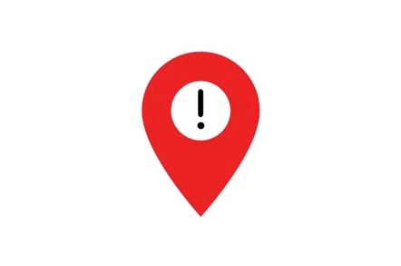 Location pin with warning