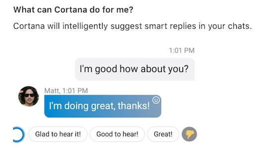 Cortana suggesting Skype conversational response