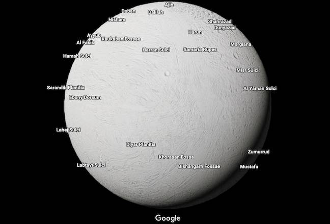 Google maps out moons and planets across the Solar System