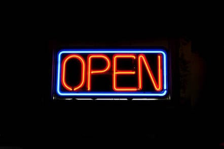 Neon sign says 'Open'