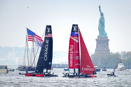 Oracle Team Versus NZ Team in America's Cup 2016 in New York