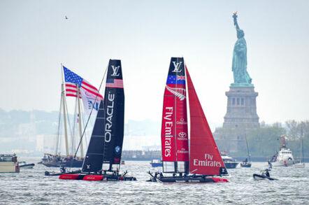 Oracle Team Versus NZ Team in America's Cup 2016 in New York