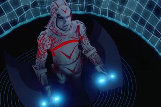 Screenshot from 1982 movie scene - lightcycle