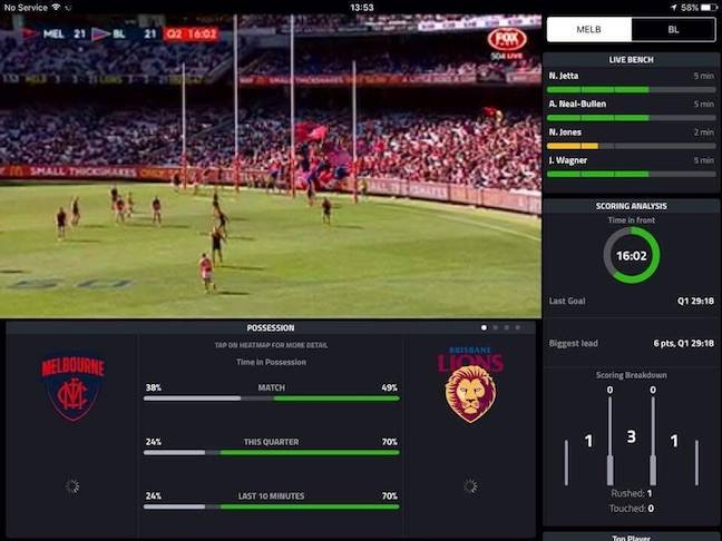 AFL live streaming tablet experience screenshot