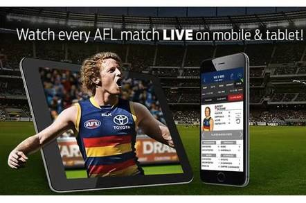 AFL website ad for streaming live games