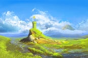 Mario Bros style plumbing pipe topped with single pixelated gold coin against a naturalistic painted landscape - clouds in the background