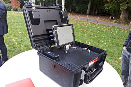 DJI Aeroscope drone locator, as seen in Brussels on 12 Oct 17